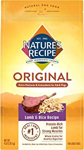 Nature's Recipe Adult Dry Dog Food, Lamb & Rice Recipe, 4 Pounds