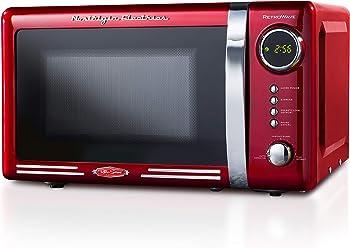 Nostalgia RMO770RED Retro 700-Watt Countertop Microwave Oven, 0.7 Cubic Foot, Red
