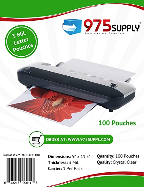 975 Supply 3 Mil Clear Letter Size Thermal Laminating Pouches, 9 X 11.5 inches, 100 Sheets
