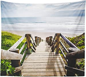 Sinsoledad Beach Tapestry Wall Art, Sea Landscape Wall Hanging for Room Decor, Nature Wall Tapestry for Bedroom Aesthetic, Road to Ocean Scenery Dorm Background,59x 51 Inches