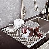 Top Home Solutions, Scolapiatti da mettere sopra il lavello, arrotolabile, in acciaio inox Grey
