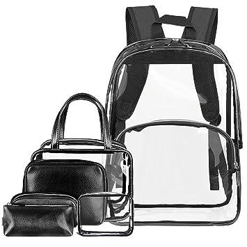 aab5f083cd48 NiceEbag 6 in 1 Clear Backpack w Cosmetic Bags Heavy Duty School Bookbag w