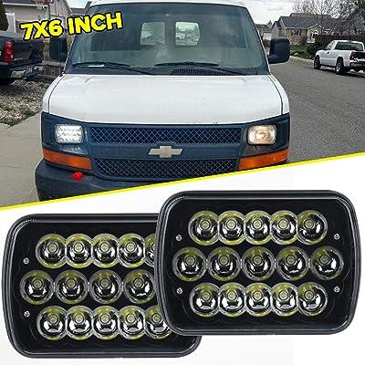 "7"" x 6"" 45W 15-LED replacement Sealed Beam Black Housing Headlight H6052 H6054 H6014: Automotive"