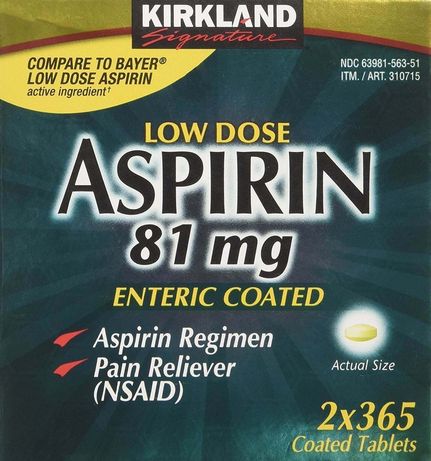 Amazon Kirkland Low Dose Aspirin 81mg 365 Enteric Coated