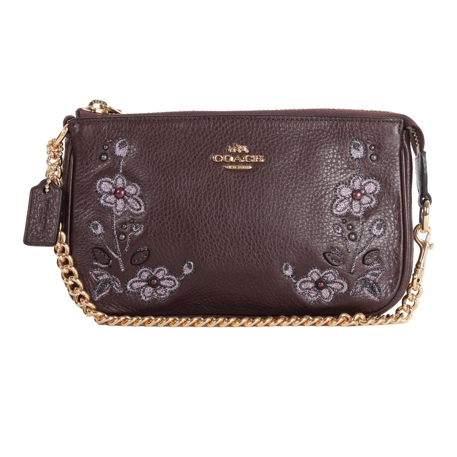 COACH F11882 FLORAL EMBROIDERED LEATHER LARGE WRISTLET 19 CLUTCH by Coach
