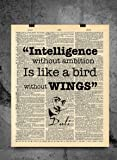 Salvador Dali Quote - Intelligence without Ambition is a Bird Without Wings - Vintage Dictionary Print 8x10 inch Home Vintage Art Abstract Prints Wall Art for Home Decor Wall Office Ready-to-Frame