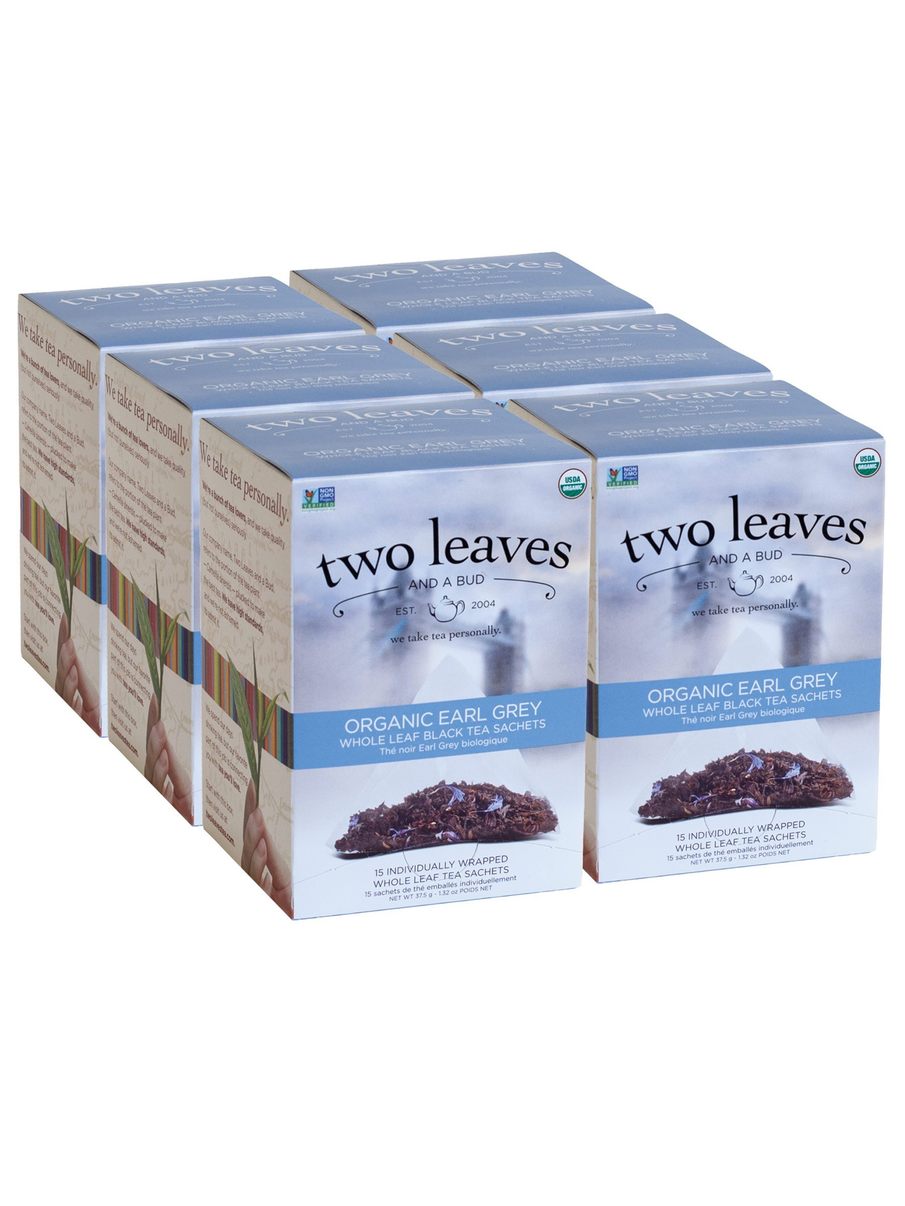 Two Leaves and a Bud Organic Earl Grey Black Tea Bags, 15 Count (Pack of 6) Organic Whole Leaf Full Caffeine Black Tea in Pyramid Sachet Bags, Delicious Hot or Iced with Milk, Sugar or Honey or Plain by Two Leaves and a Bud