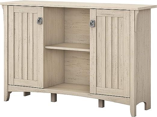 Amazon Com Bush Furniture Salinas Accent Storage Cabinet With Doors In Antique White Home Kitchen