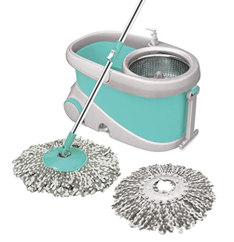 6. Spotzero by Milton Prime Mop with Big Wheels and Stainless Steel Wringer (Aqua green, 2 refills)