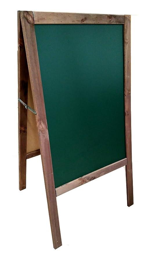 PIZARRA CABALLETE VERDE en NOGAL. 120x60cm Válido para rotulador de tiza líquida y tiza convencional. 2 CARAS (tablero verde)