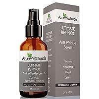 2.5% STRONGEST RETINOL Serum WRINKLE ERASER, Hyaluronic Acid + Vitamin E, Will Erase Fine Lines, Treat Acne, Best Organic Anti Aging Anti Wrinkle Retinol Cream & Natural Skin Care Product Available!