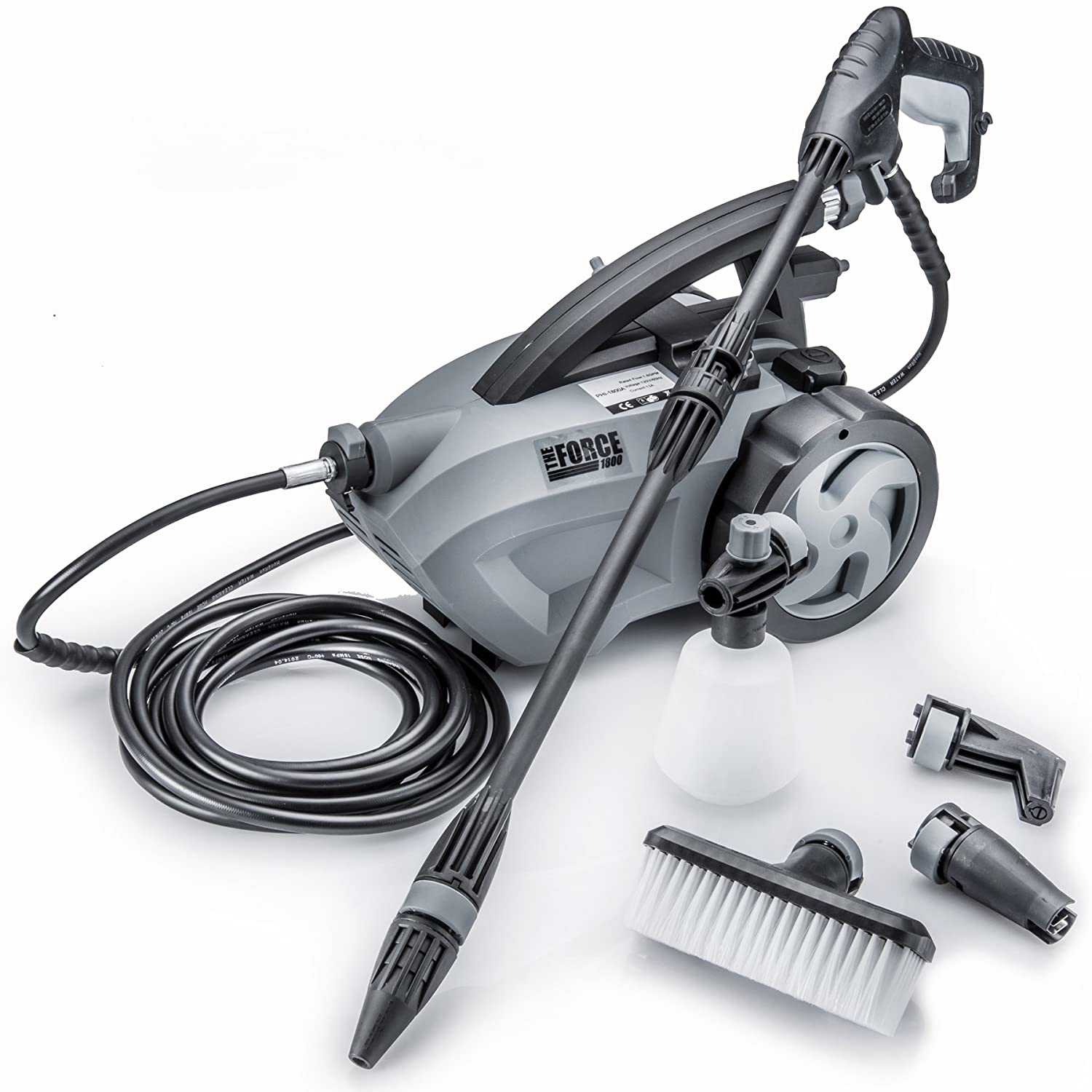"THE FORCE 1800 - POWERHOUSE INTERNATIONAL - PULL BEHIND - 1.6 GPM 1800 PSI (2600 PSI - ""IPB"") Electric Pressure Washer with 20 Foot Quick Connect Hose, 3 Different Nozzles"