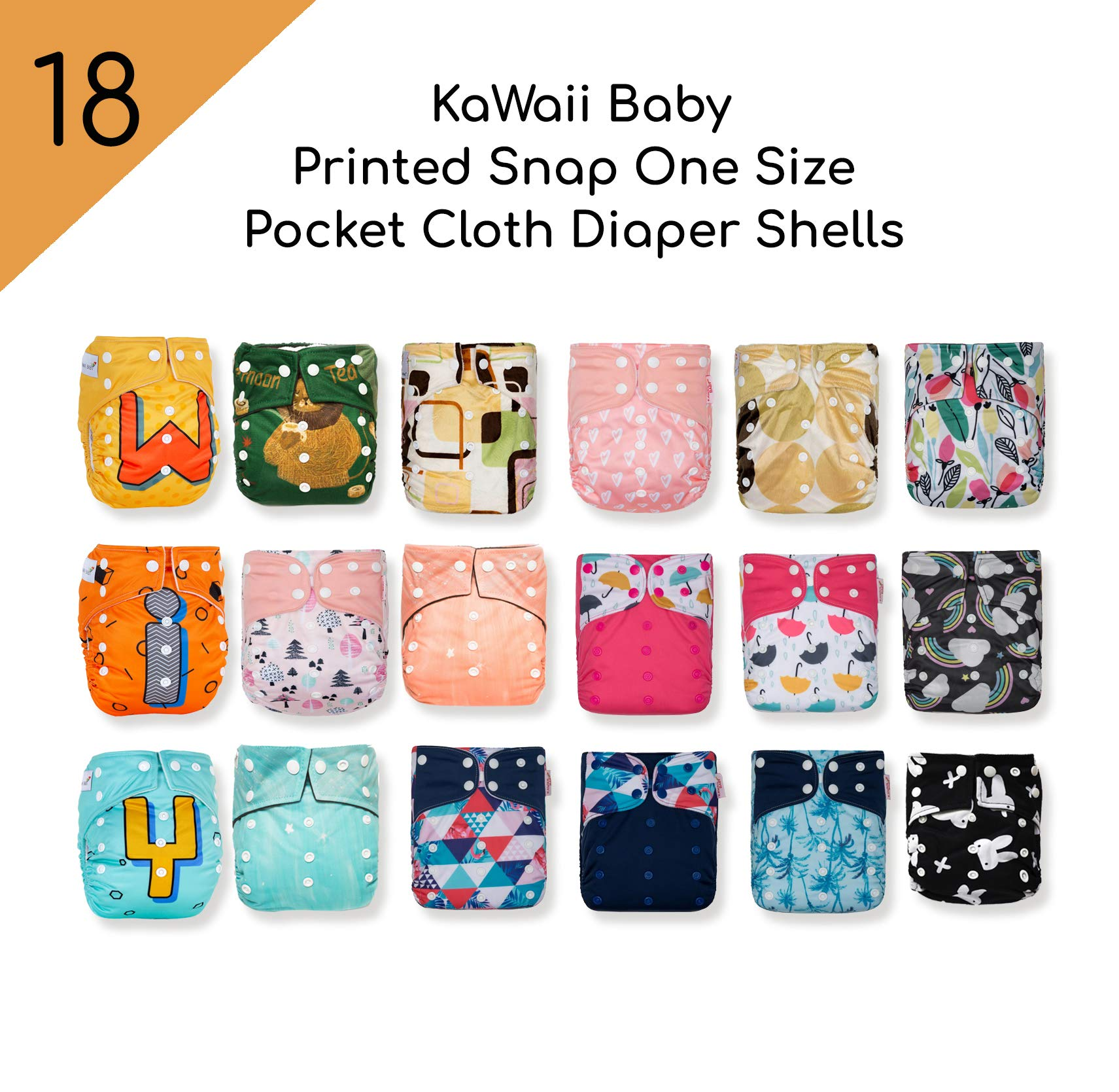 KaWaii Baby Pack of 18 Shells One Size Printed Snap Adjustable Leak-Proof Panel Washable Pocket Diaper Shells for 8-36 lbs| Reusable| Waterproof by Kawaii Baby (Image #1)