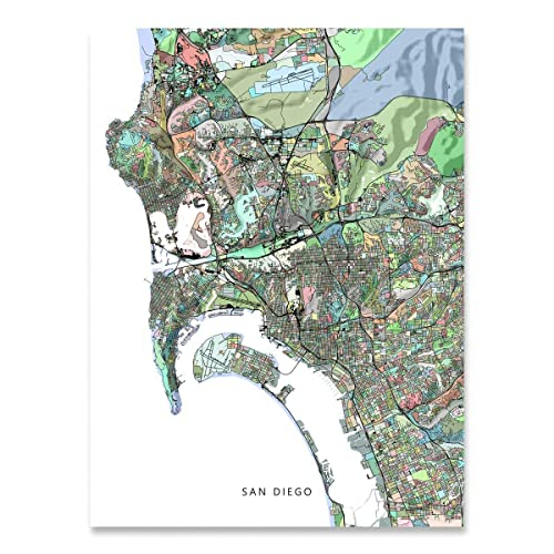 Amazon.com: San Diego Map Print, California USA, CA City Street Art ...