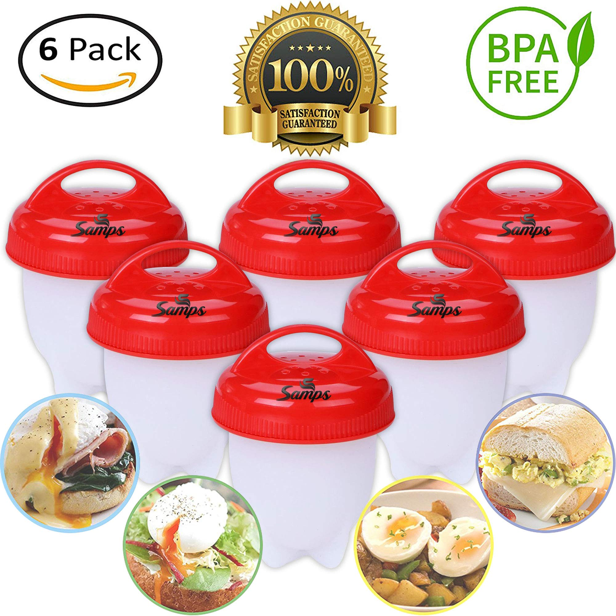 Hard Boiled Egg Cooker Prime without the Shell, Non-Stick Silicone, Soft Maker Egg Poacher, 6 PACKS