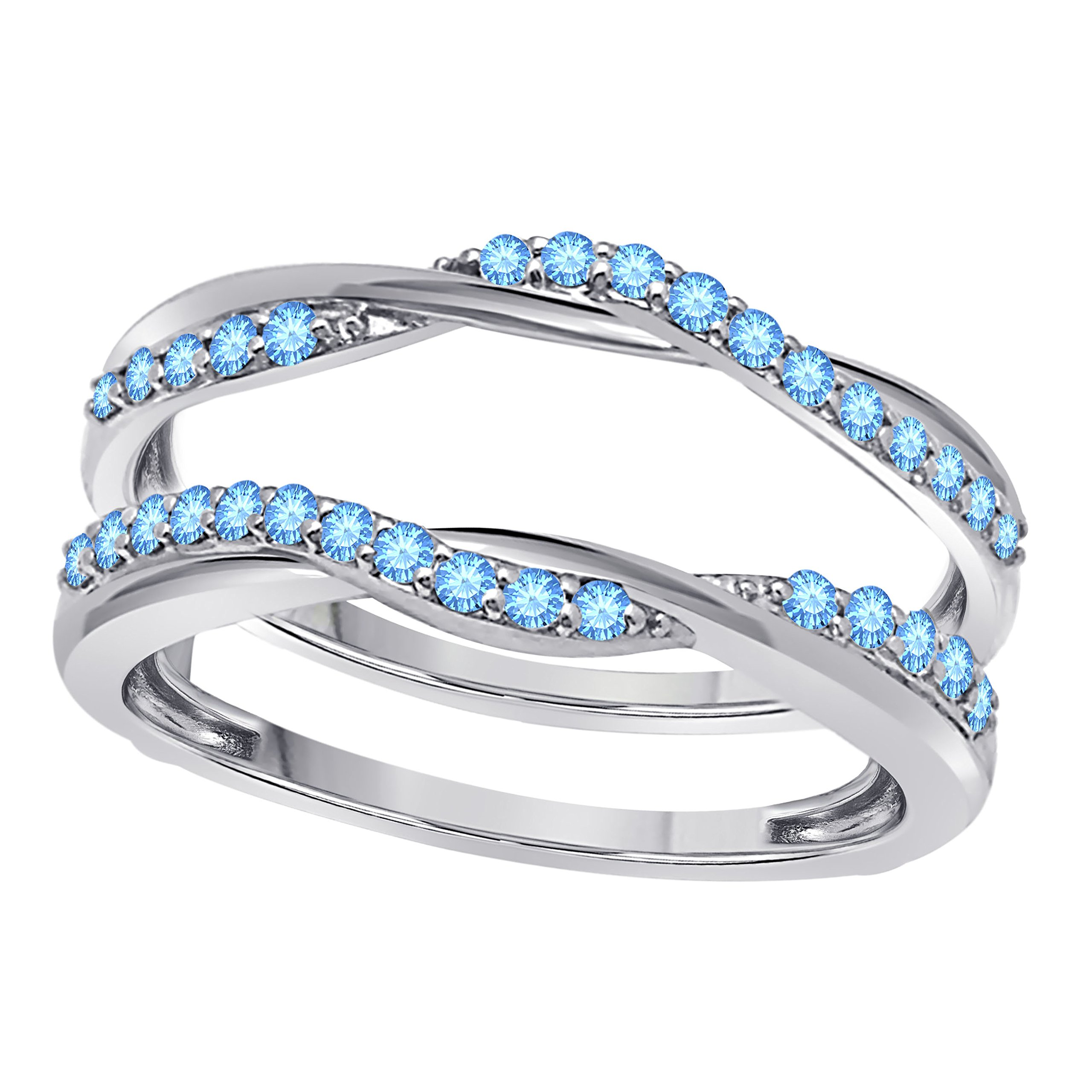 Sterling Silver Plated Delicate Bypass Infinity Style Vintage Wedding Ring Guard Enhancer with CZ Aquamarine 0.50 ct