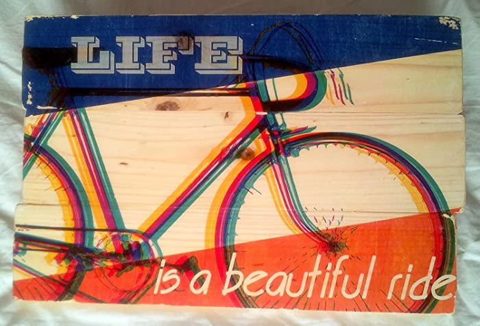 Amazon.com: Retro Bicycle Wall Art on Solid Wood Boards - Life is a ...