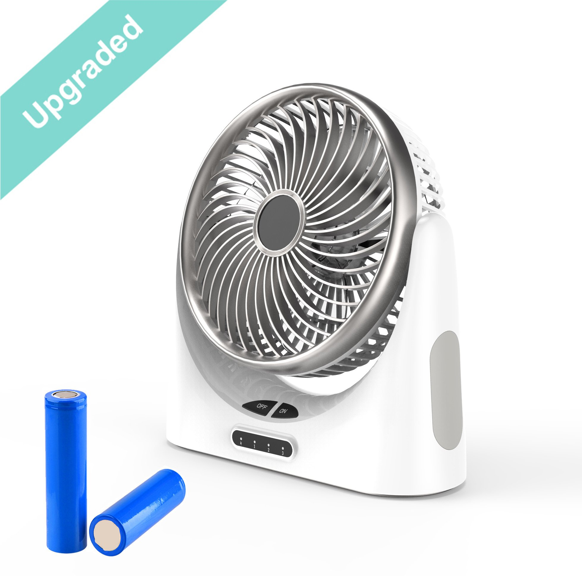 HCMAOE Mini USB Table Desk Personal Portable Air Circulator Fan 3 Speed, Lower Noise, Powered by USB or 4000mAh Rechargeable 18650 Battery with Power bank Function, Side LED Light for Office, (Silver) by HCMAOE (Image #1)