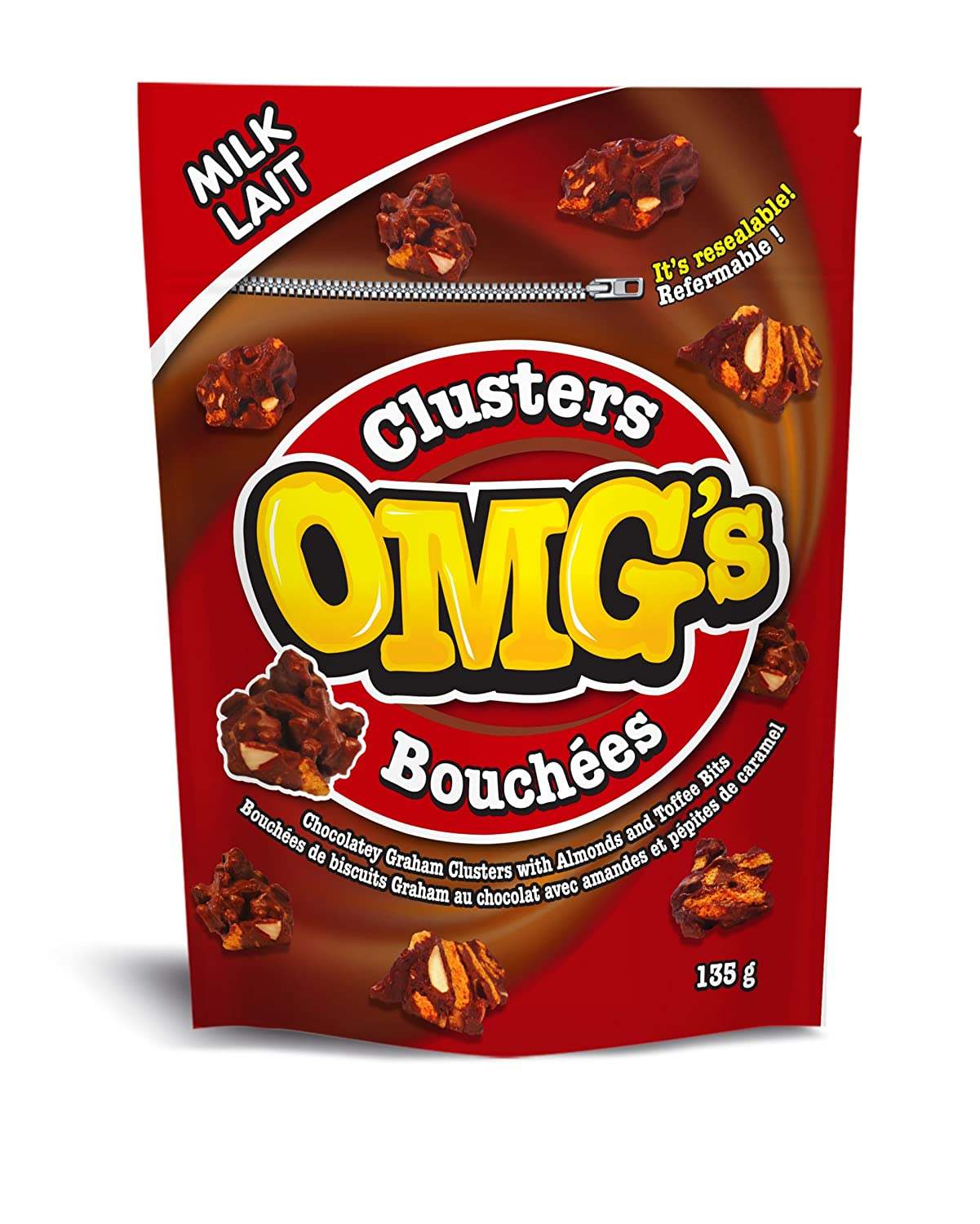 OMG's Milk Chocolatey Almond Clusters, 135 g, 12 Pack