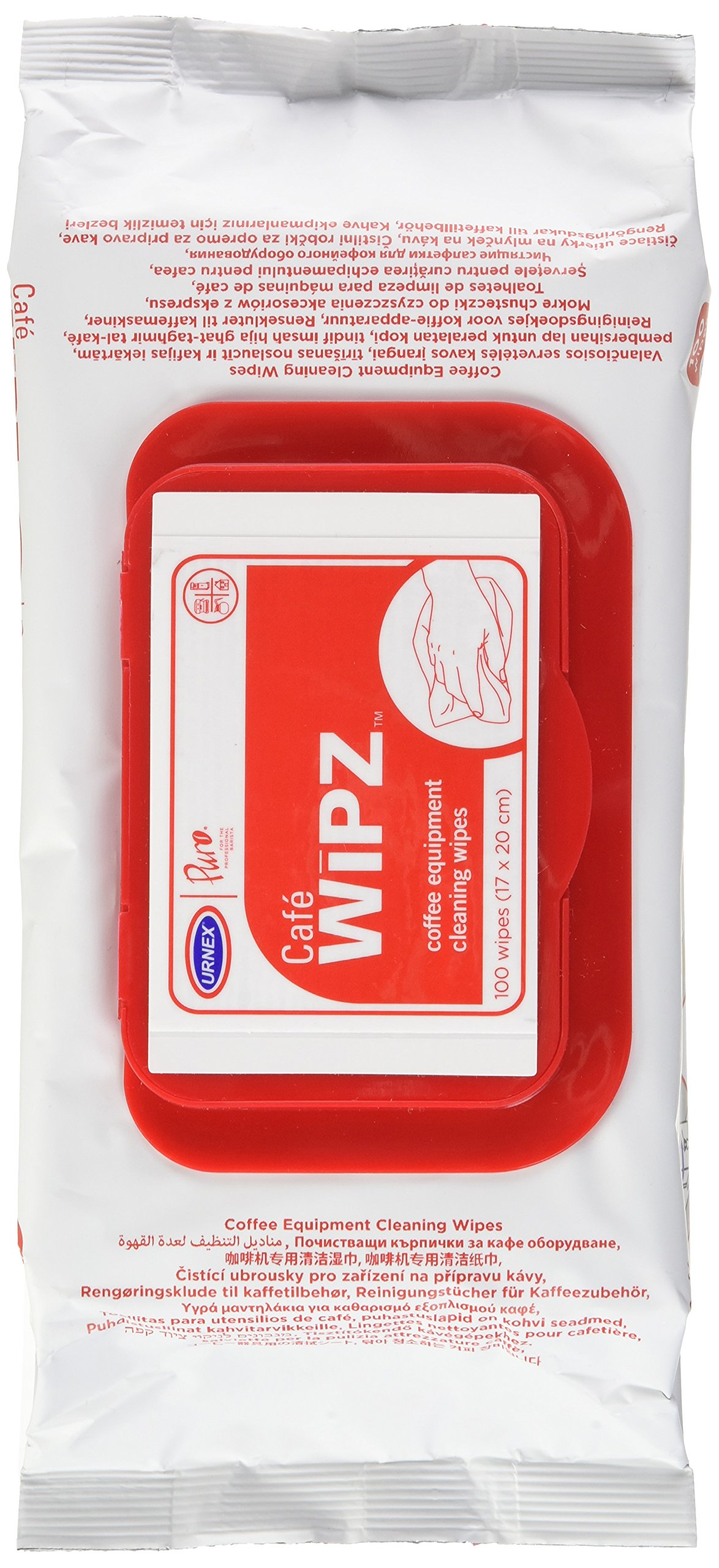 Urnex Café Wipz - 100 Count Bag - Professional Coffee Equipment Cleaning Wipes Fragrance Free Wipes Formulated with Cationic Detergents To Remove Milk and Coffee Residue