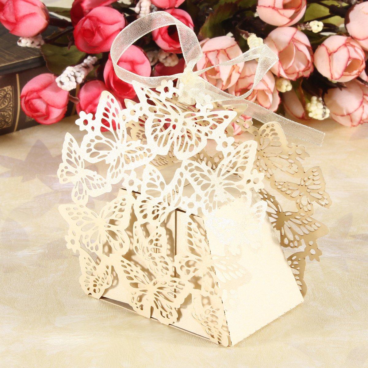 Amazon.com: Gospire 50pcs Butterfly Party Wedding Favor Box Birthday ...