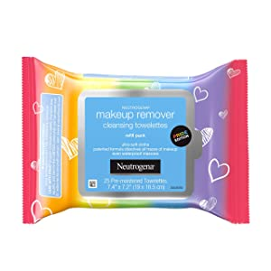 Neutrogena Makeup Remover Cleansing Towelettes, Daily Face Wipes to Remove Dirt, Oil, Makeup & Waterproof Mascara, Special Edition Care with Pride Packaging, 25 ct.