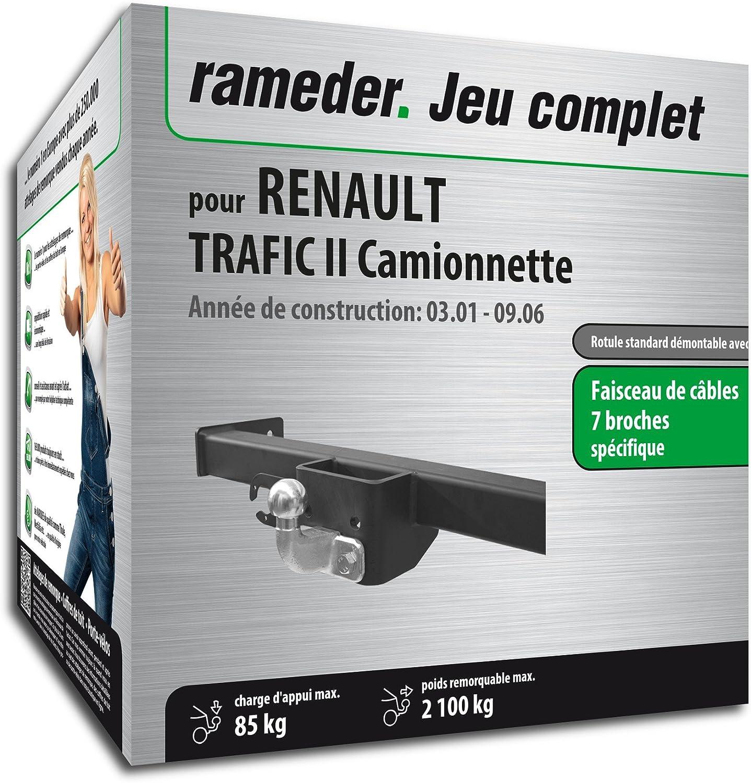 Pack RAMEDER attelage rotule standard Rotule standard 2 trous pour RENAULT TRAFIC II Camionnette + faisceau électrique 7 broches (134130-04753-6-FR)