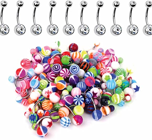Set of 20  Mixed Belly Navel Bars No Repeats 10mm Body Jewellery