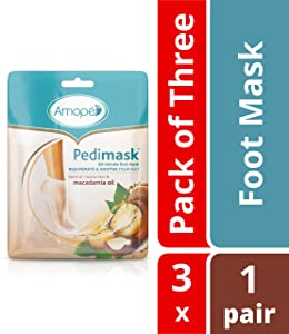 Amope Pedimask 20 Minute Foot Mask- Blend of Moisturizer & Macadamia Oil Essence to Rejuvenate & Soothe For Baby Smooth Feet In Minutes, No Mess Hydration, Pack of 3