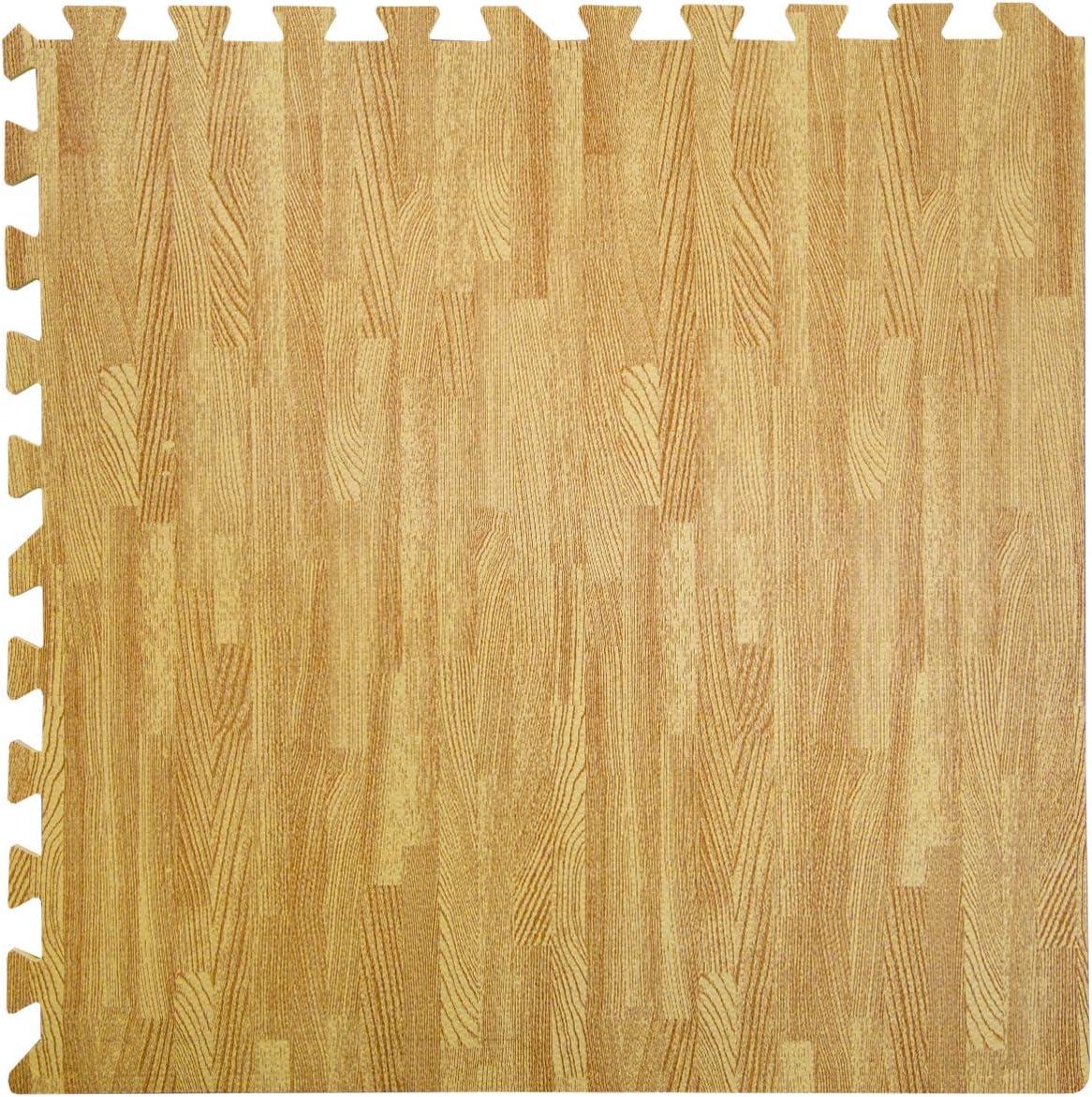 60x60cm mit 8 Abschlussleisten erweiterbare Steckmatten Schutzmatte Unterlegmatte Bodenmatte Deko Matte Hellbraun EYEPOWER Puzzlematten in Holz-Optik Laminat-Muster 4 Matten ca