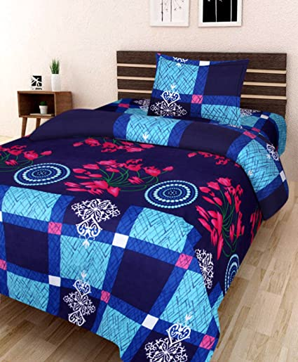 Amayra Home 120 TC Microfibre Single 3D Luxury Bedsheet with 1 Pillow Cover - Floral, Multicolour