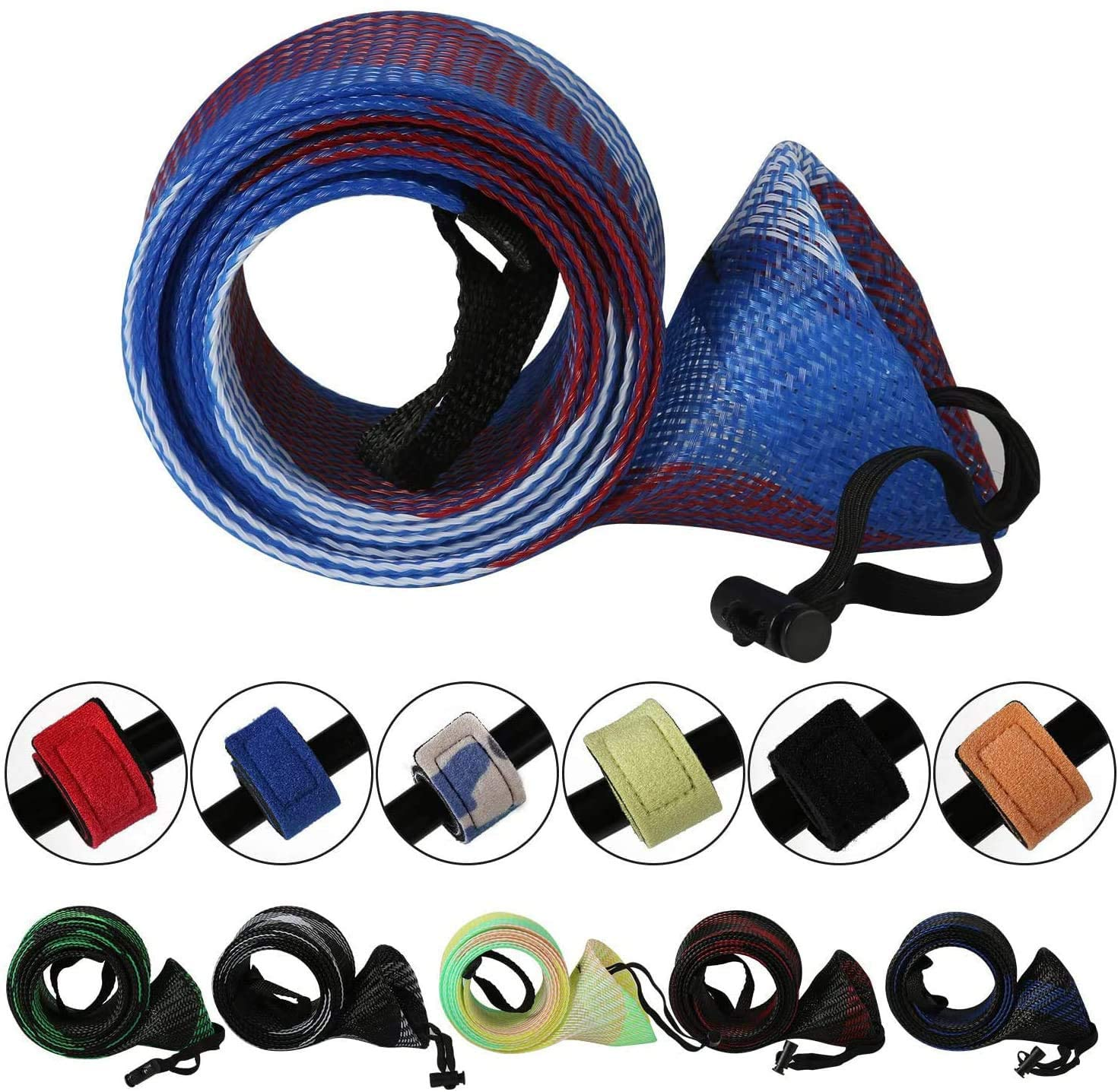 1-10X Spinning Casting Fishing Rod Sleeve Cover Sock Tip Protector Pole Tube Bag