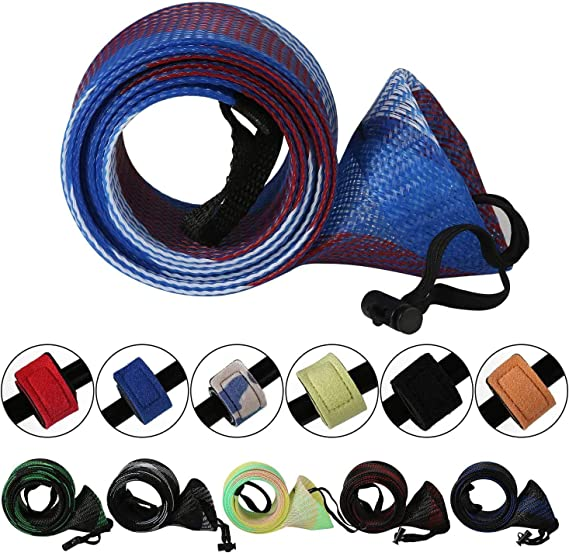 SF 2 Section Fishing Rod Cover Rod Sock Spinning Casting Baitcast Fishing Rod Sleeve Case Sock with Quick Clench Fishing Bungee Ties for Fishing Rod
