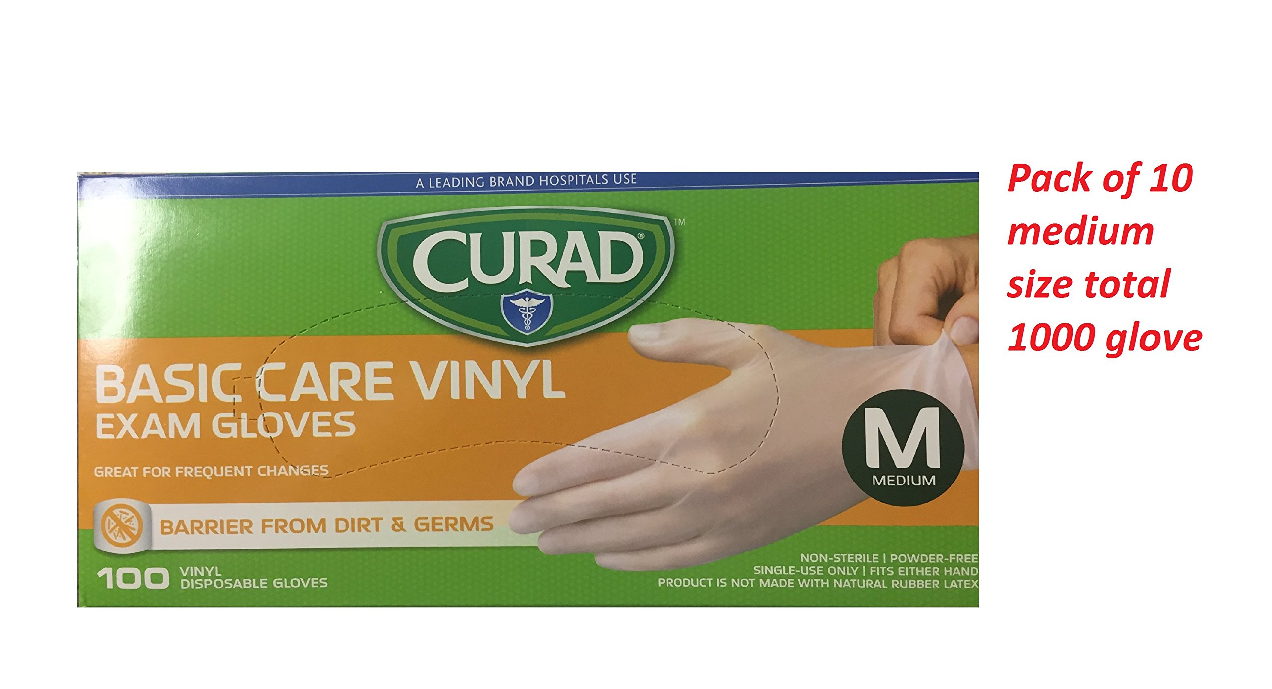 Curad Basic Care Vinyl Exam Gloves, Medium, 100 Count (Pack of 10) (Total 1000 Medium size gloves) by Curad (Image #1)