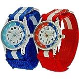 2 x Montre Reflex Pédagogique Garçon Rouge et Bleu avec Colliers Offerts