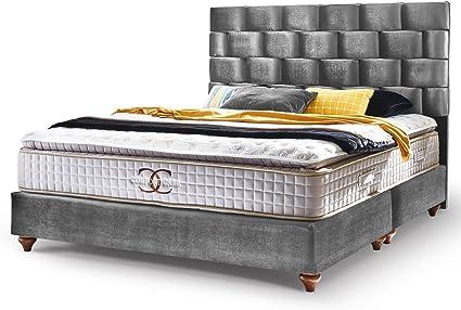 Cama con somier Zúrich, cama de hotel, cama doble, tela de terciopelo gris y plata, colchón topper cama moderna (180 x 200 cm, gris)