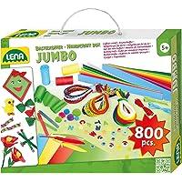 Lena 42629 - Jumbo knutselkoffer met divers knutselmateriaal, met schuimrubber, gekleurd papier, kralen, pomponnen…