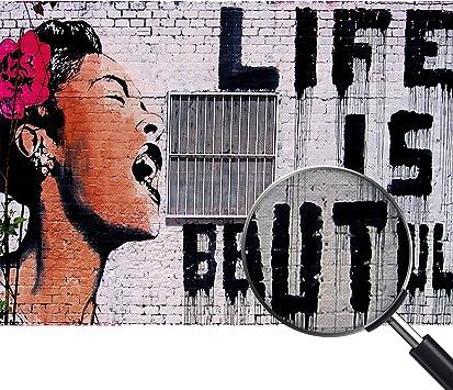 Druck AUF LEINWAND 50 x 70 cm Giallobus Banksy DAS Leben IST SCH/ÖN Bild