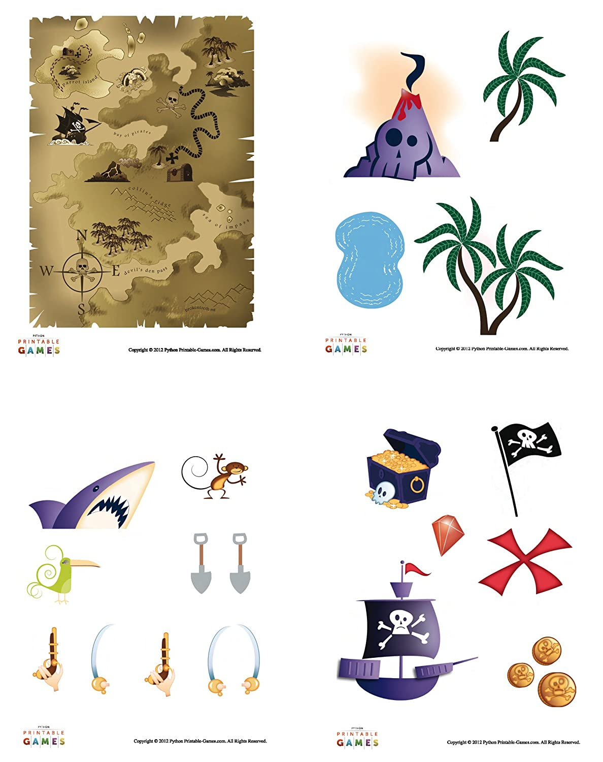photograph about Printable Map for Kids called : Printable Pirate Treasure Map Pirate Craft For