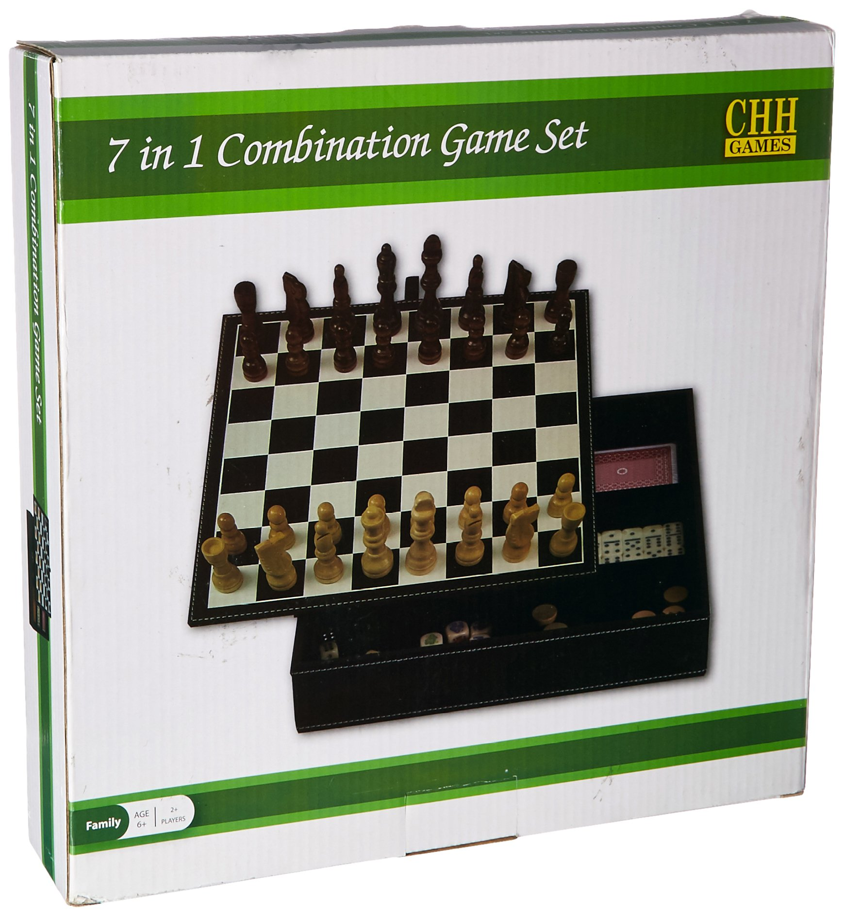 CHH Faux Leather Game Set with A Variety of Tabletop Games, Black