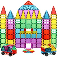 Magnet Build Magnet Tile Building Blocks Extra Strong Magnets & Super Durable 3D Tiles, Educational, Creative, Assorted Shapes & Vibrant Bright Colors (Set of 100), Multicolor (MB1639)