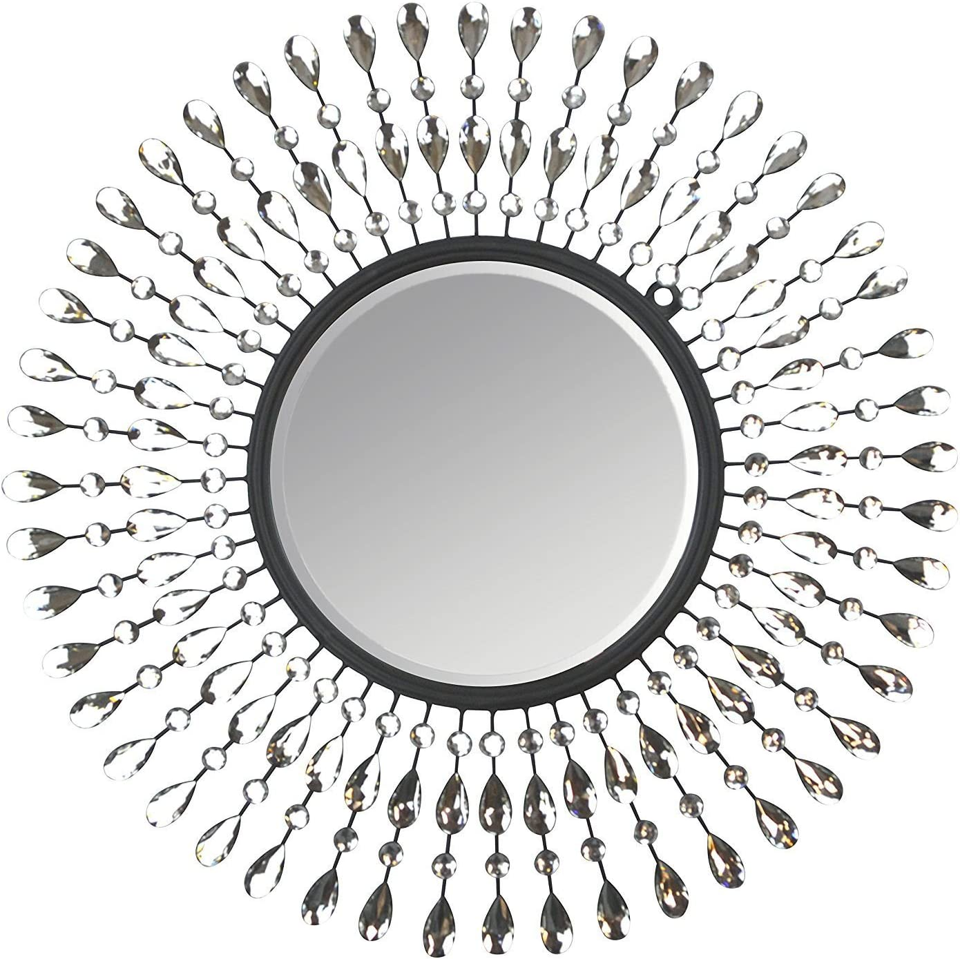 "Lulu Decor, Pearl Drop Wall Mirror, Metal Wall Mirror, Frame Size 25"", Perfect for Housewarming Gift"