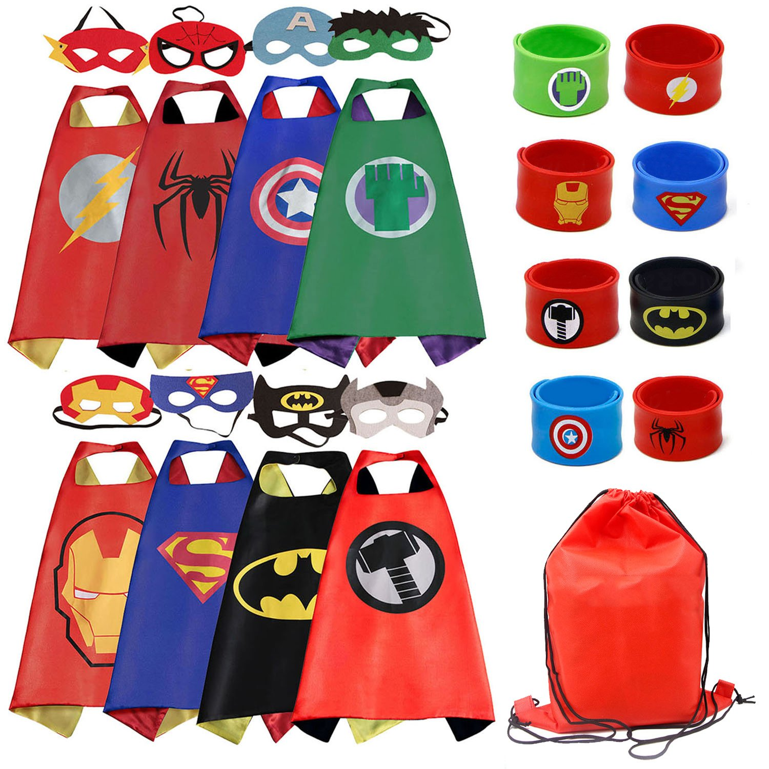 Dress up Costume Cape and Mask Set with Matching Shaped Rubber Wristbands and 1 Drawstring Bag for Kids, Birthday Party Children(8pcs for boy)