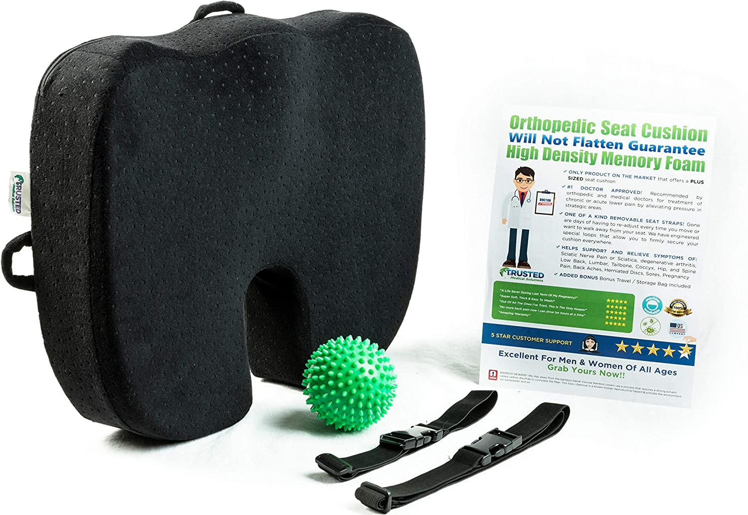 Seat Cushion For Office Chair – Will Not Flatten Coccyx Cushion Orthopedic Memory Foam – Back Tailbone Pain Relief Car, Airplane, Wheelchair, Truck Drivers, Travel – Sciatica Butt Pillow for Sitting