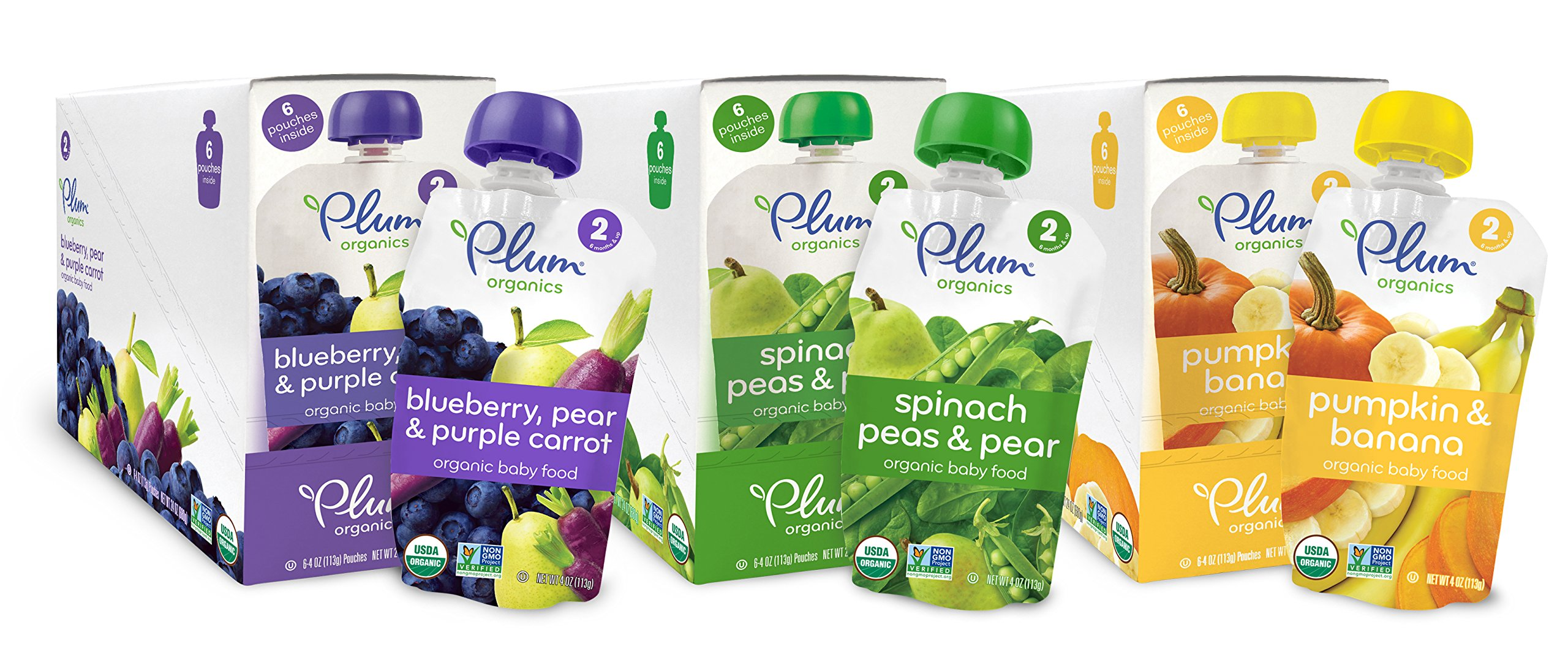 Plum Organics Baby Second Blends Variety Pack, 4 Ounce (Pack of 18)