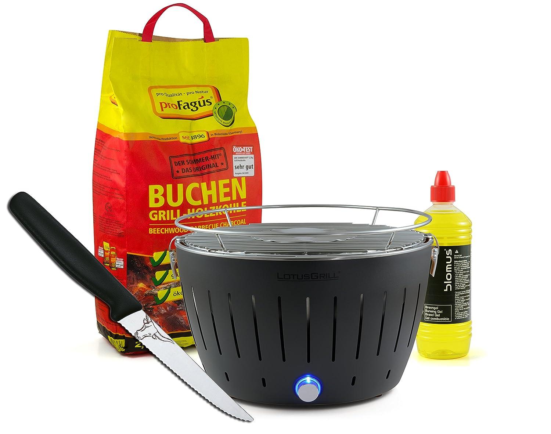 Lotusgrill ANTHRAZIT inkl. 2,5kg Holzkohle, Brenngel 1L & Steakmesser