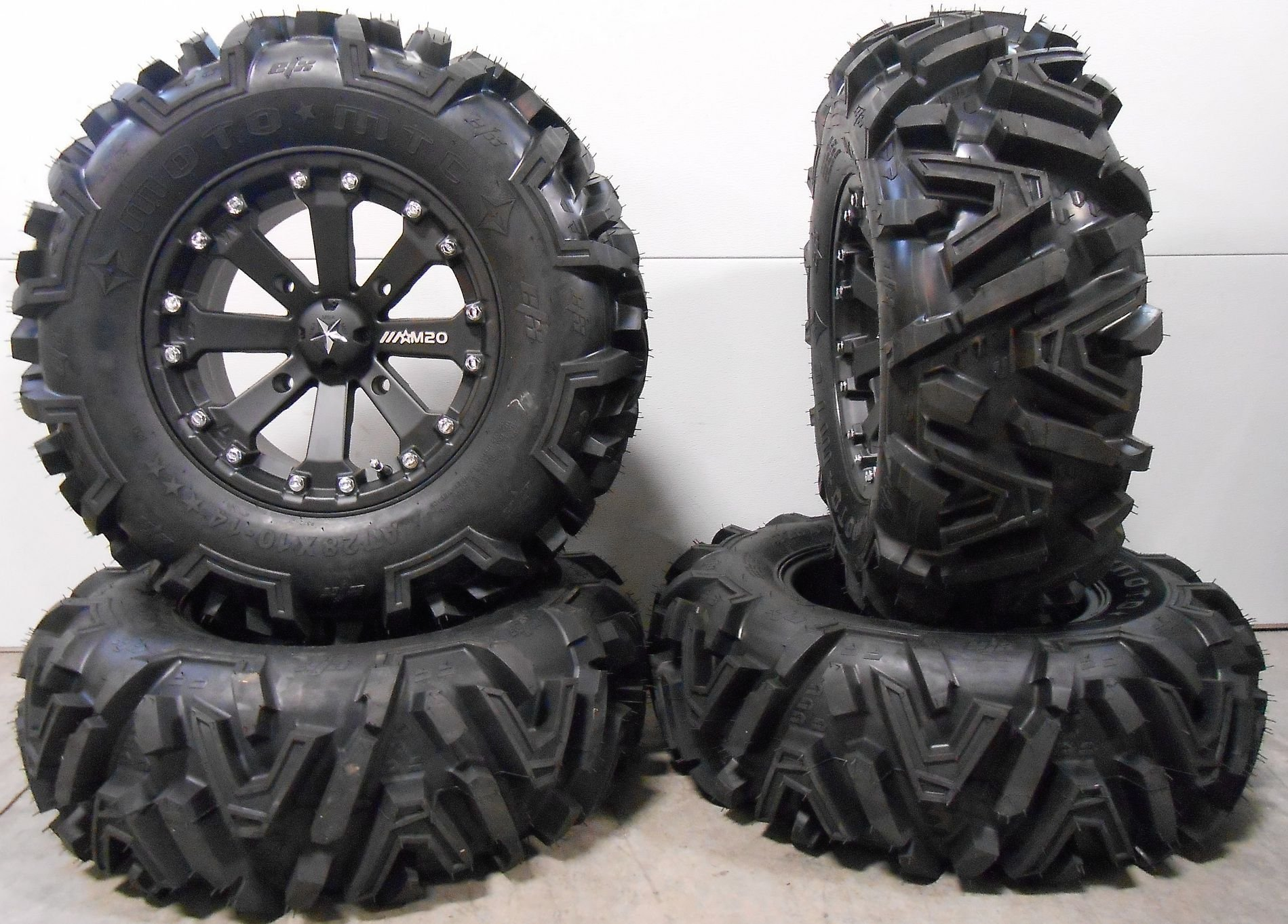 Bundle - 9 Items: MSA Black Kore 14'' ATV Wheels 28'' EFX Moto MTC Tires [4x156 Bolt Pattern 12mmx1.5 Lug Kit]