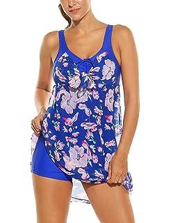 HOTOUCH Damen Badeanzug Einteiles Badekleid Blumen Druck Chiffon Beachwear  Strandkleid mit Badehose Bunten Bademode 161ba3e830