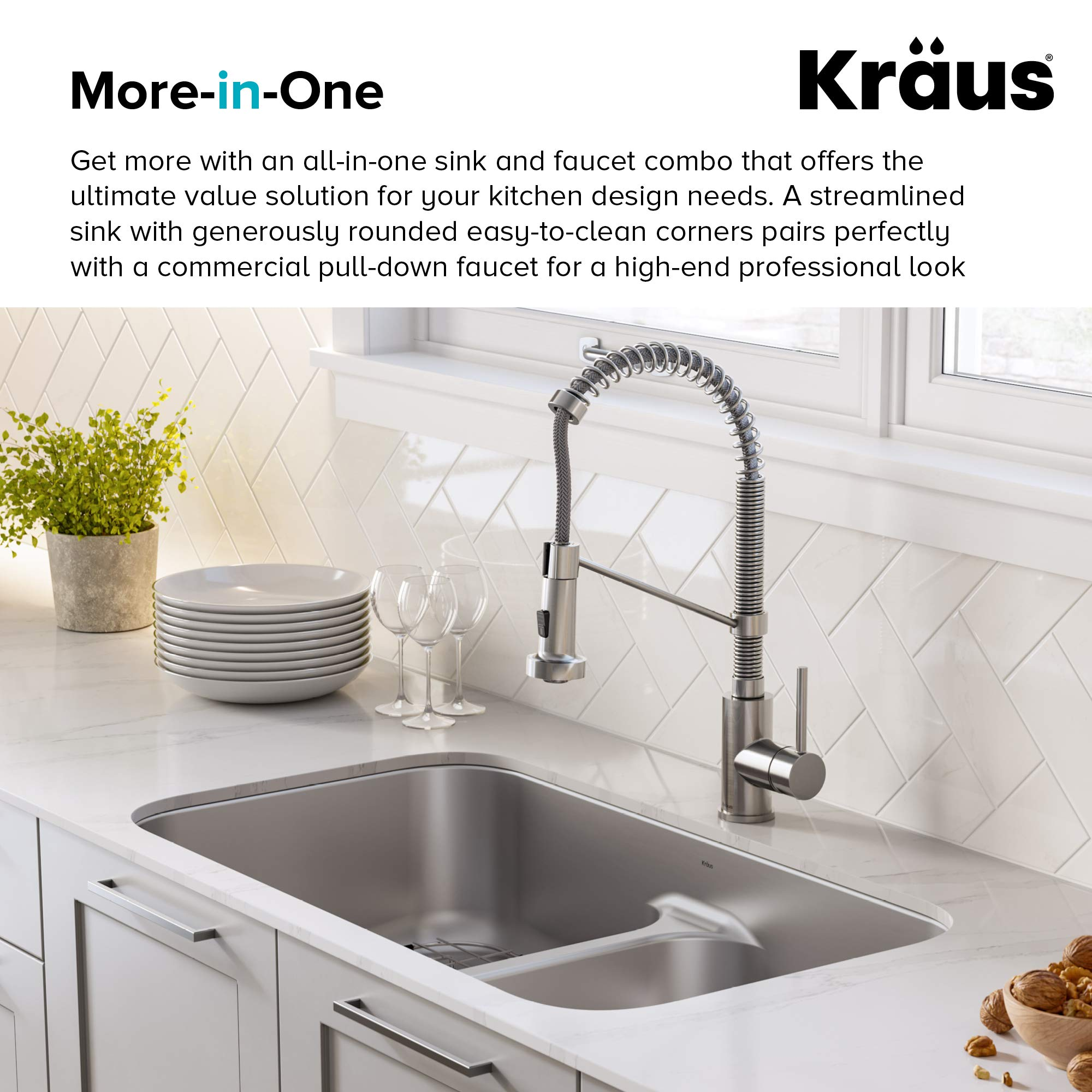 KRAUS KCA-1200 Ellis Kitchen Combo Set with 33-inch 16 Gauge Undermount Kitchen Sink and Bolden 18-inch Pull-Down Commercial Style Kitchen Faucet, Stainless Steel Finish by Kraus (Image #8)