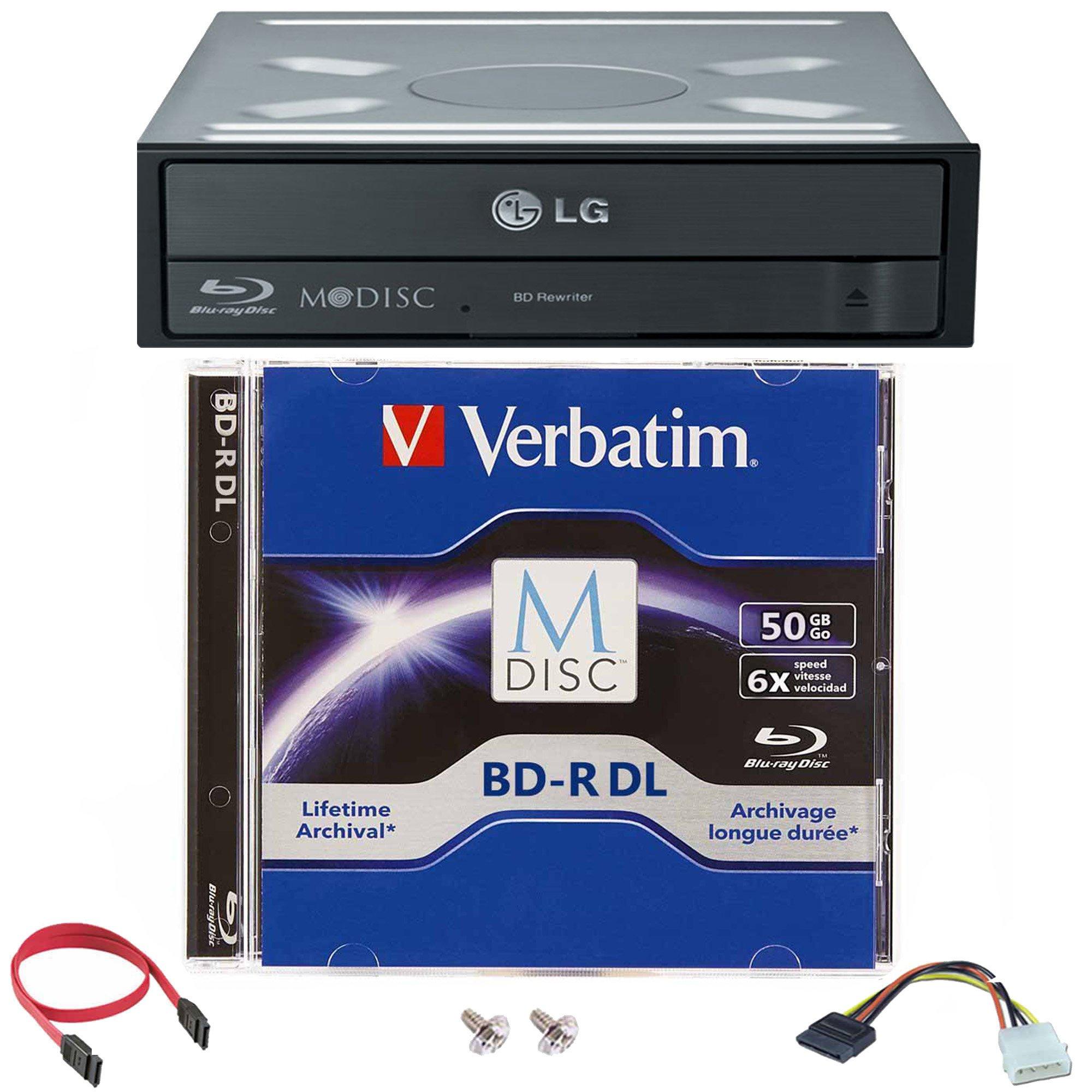 LG WH14NS40 16X Blu-ray BDXL DVD CD Internal Burner Drive Bundle with Free 50GB M-DISC BD-R DL + SATA Cable + Mounting Screws